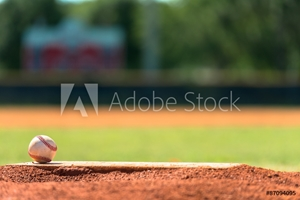 Picture of Baseball on pitchers mound