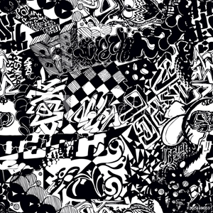 Picture of Black and white seamless pattern graffiti, sticker bombing