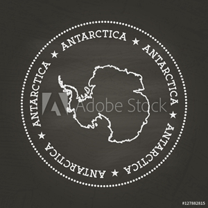 Picture of White chalk texture vintage seal with Antarctica map on a school blackboard. Grunge rubber seal with country map outline, vector illustration.
